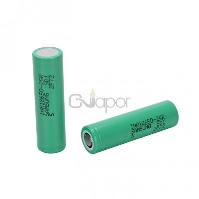 Samsung 25R 18650 2500mAh  Flat Top Battery 2 PCS