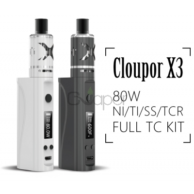 Cloupor X3 TC  80W Ni/Ti/SS/TCR  Full  Kit with  4ml X3 tank
