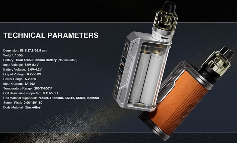 Lost Vape Thelema Quest Kit Specifications