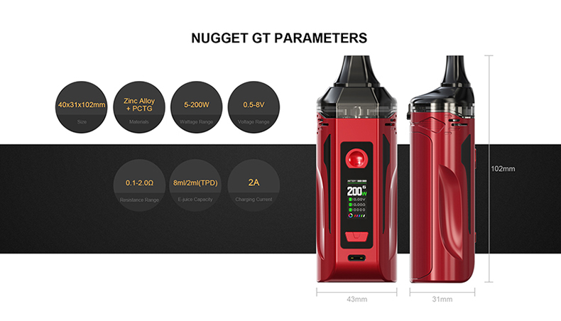 Nugget GT Pod Kit Parameters