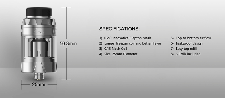 Intake Sub Ohm Atomizer Specification