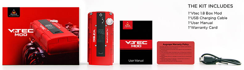 Augvape VTEC1.8 Mod Packing Contents