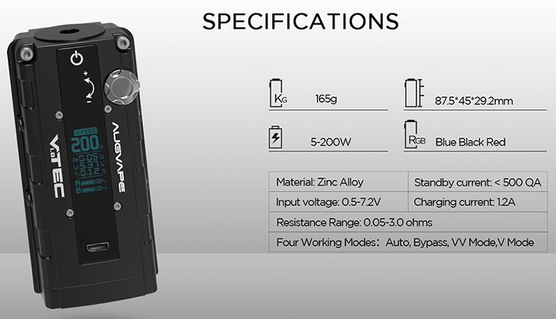 Augvape VTEC 1.8 TC Box Mod Specifications