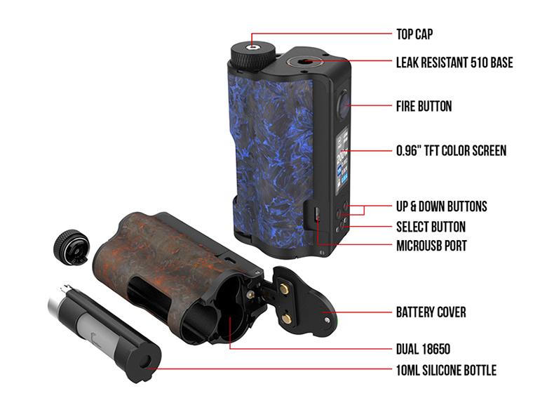 Topside Dual Carbon Squonk Vape Mod Component