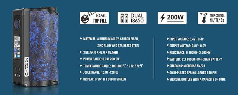Topside Dual Carbon Squonk Vape Mod Specification