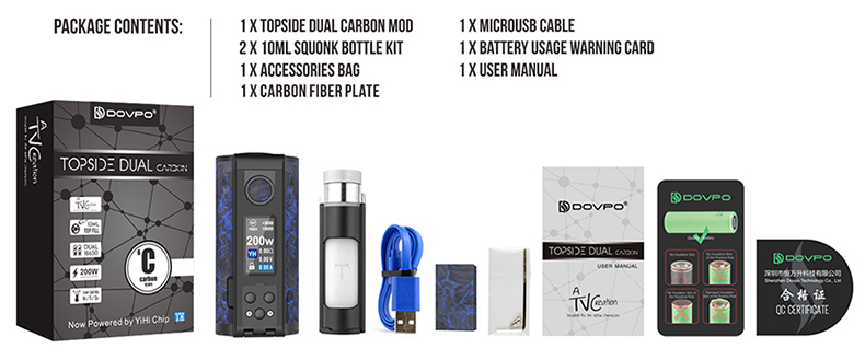 Topside Dual Carbon Squonk Vape Mod Package