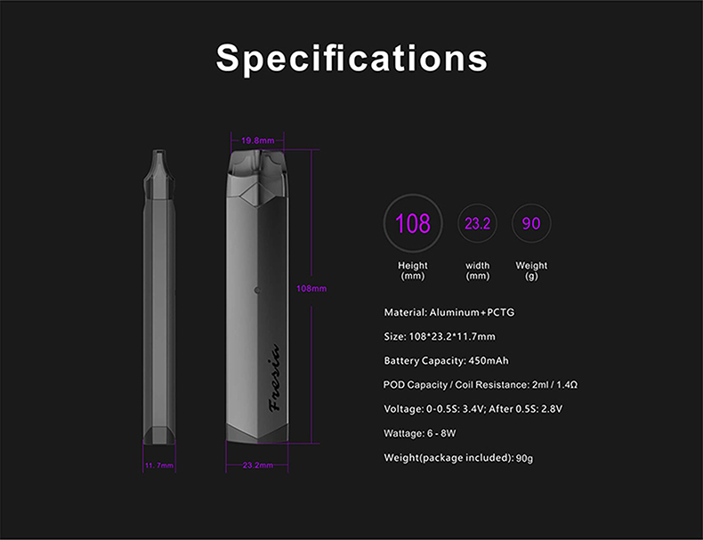 Damn Vape Fresia Pod System Kit Specification