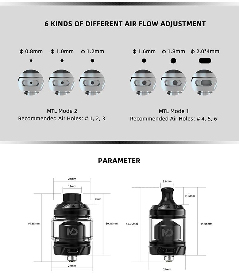 Hellvape MD RTA Atomizer Airflow Adjustment