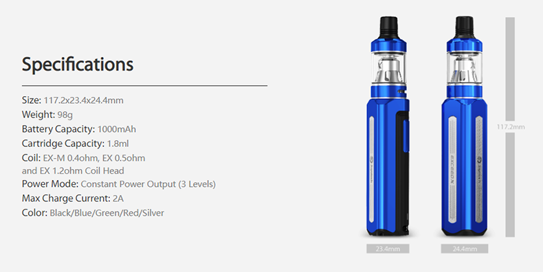 Joyetech EXCEED X Kit Specification