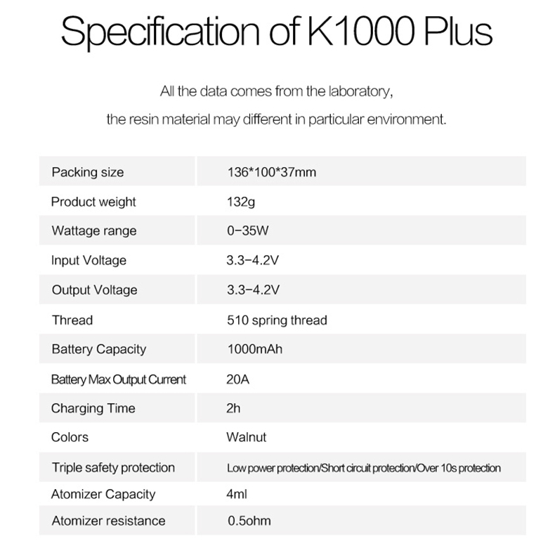 Kamry K1000 Plus Parameters