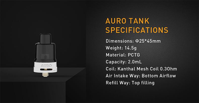 Kanger Auro Vape Kit Tank Specification