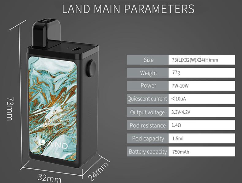Land Pod Vape Kit Parameters