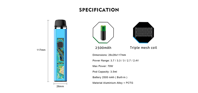 Mace70 Pod System Kit Specification