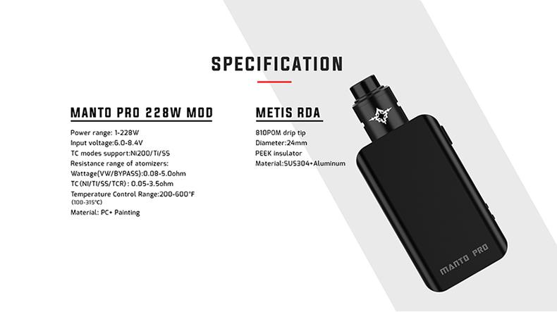 Manto Pro RDA Kit Parameter