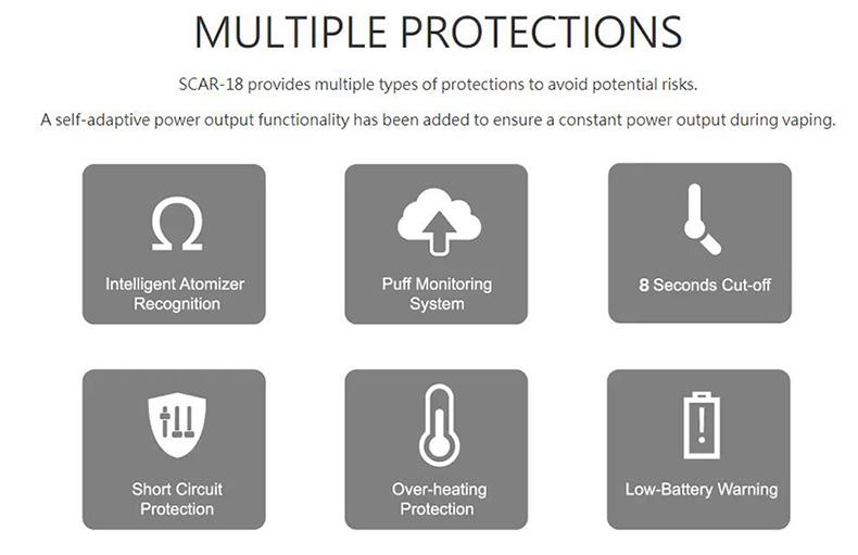 SMOK SCAR-18 230W Mod Protections