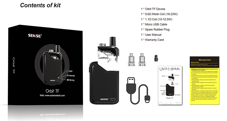 Sense Orbit TF Pod Vape Kit Includes