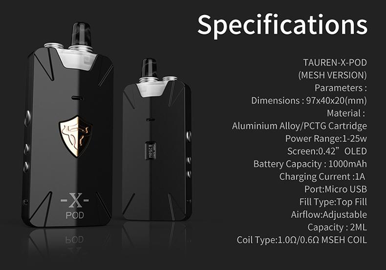 Tauren X Pod Mesh Coil Kit Specification