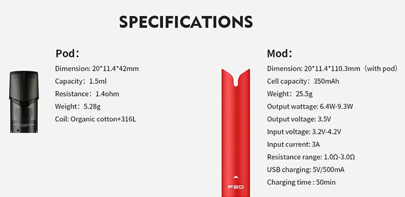 Tesla P20 Pod System Vape Kit Specification