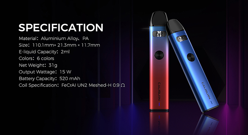 Uwell Caliburn A2 Kit specification