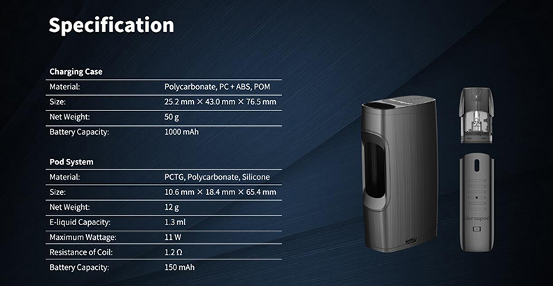 Uwell MarsuPod PCC Vape Kit Specification