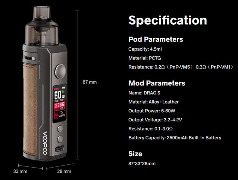 VOOPOO DRAG S Starter Kit Specification