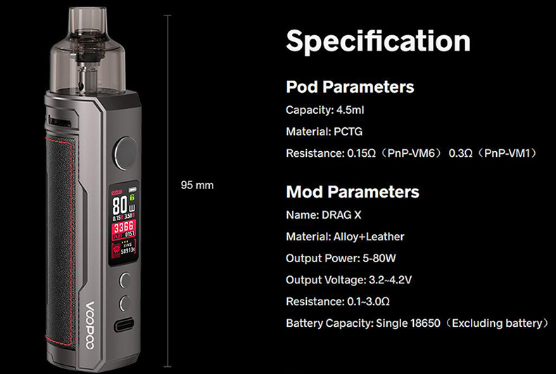 VOOPOO Drag X 80W Kit Specification
