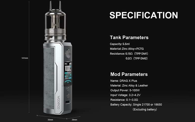 VOOPOO Drag X Plus Kit Specifications