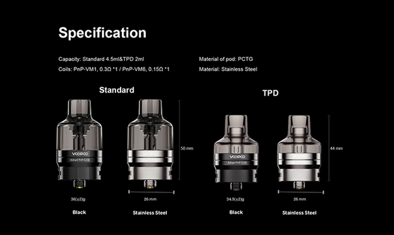 VOOPOO PnP Pod Tank Specifications