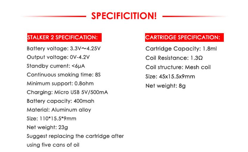 Vapor Storm Stalker 2 Pod Vape Kit Specification