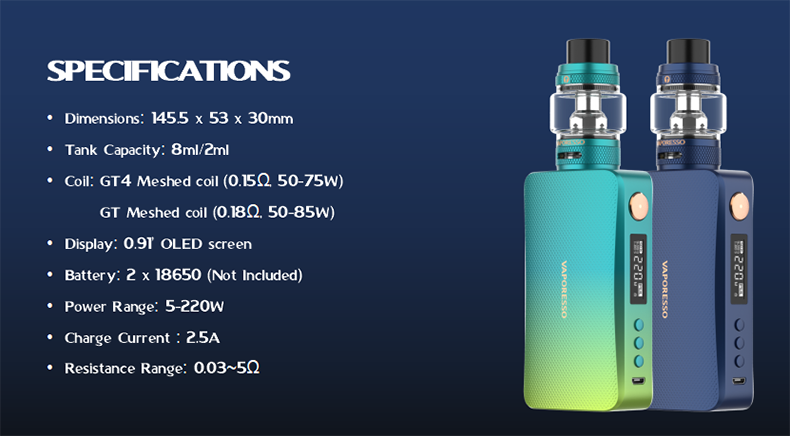 Vaporesso Gen S Kit with NRG-S Tank Specification