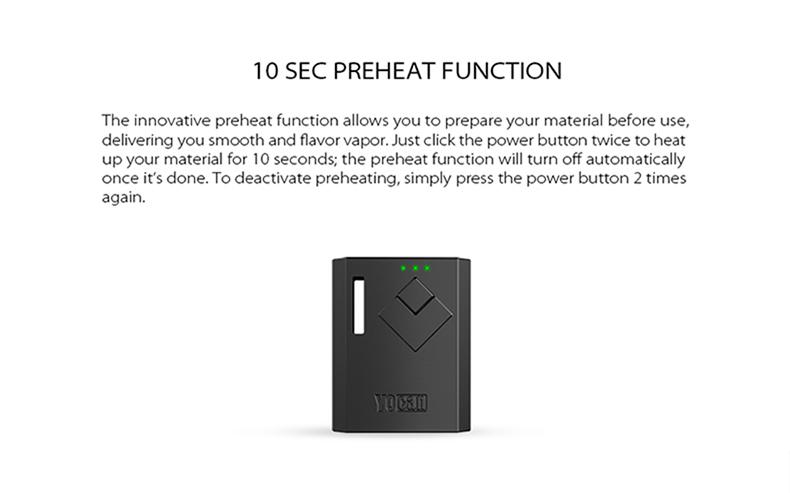 Yocan Wit Box Mod Preheat Function