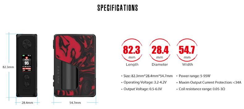 Vandy Vape Pulse V2 Box Mod Specification